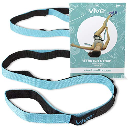 (Vive Stretch Strap - Leg Stretch Band to Improve Flexibility - Stretching Out Yoga Strap - Exercise and Physical Therapy Belt for Rehab, Pilates, Dance and Gymnastics with Workout Guide Book)