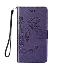 Galaxy Core Prime Case,Gift_Source [Card Slot] Magnetic Closure PU Leather Flower Butterfly Embossed Wallet Case Folio Flip Case with Strap for Samsung Galaxy Core Prime G360 / Prevail LTE[Purple]