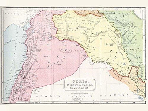 Map Syria Mesopotamia Assyria Vintage Large Wall Art Print Poster Picture
