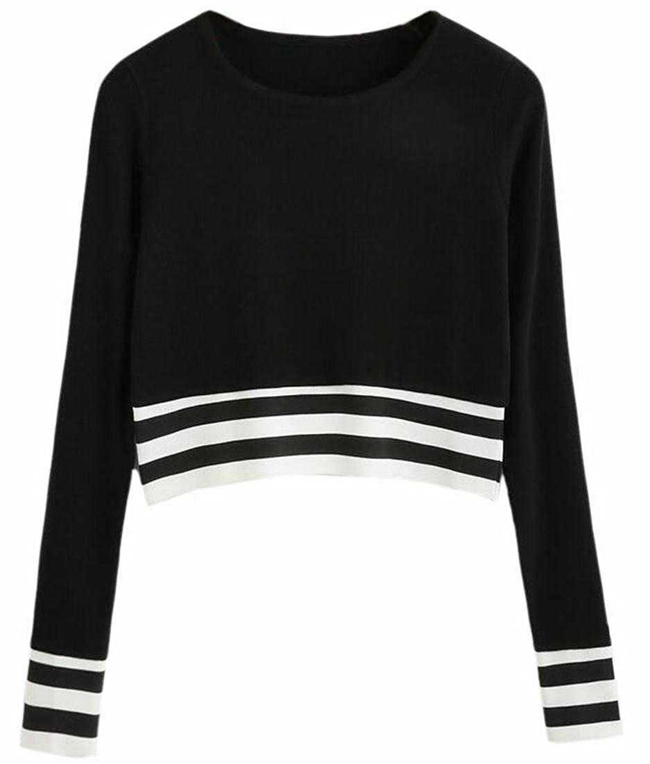ZXFHZS Womens Casual Sripe Long Sleeve Round Neck Pullover Crop Top