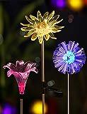 BRIGHT ZEAL [Set of 3] LED Color Changing Solar Stake Lights Outdoor - Solar Light LED Garden Decor Statues - Patio Lights LED Outdoor Multicolor Changing LED Lights