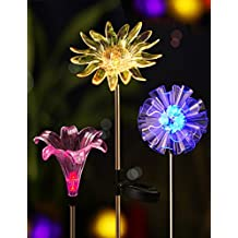BRIGHT ZEAL [Set of 3] LED Color Changing Solar Stake Lights Outdoor - Solar Light LED Garden Decor Statues (DANDELION, LILY, SUNFLOWER) - Valentines Day Decorations Multicolor Changing LED Lights
