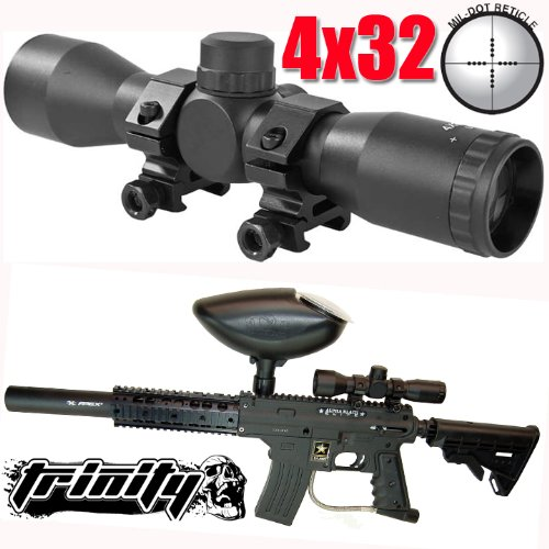 Trinity Paintball 4x32 Compact Scope for Us Army Alpha Black Elite Paintball Gun,paintball Scope,paintball Sight,paintball Mil-dot Scope.bravo One Paintball Gun Scope.us Army Paintball Gun Sight, Tippmann Paintball, Us Army Paintball, Spyder Paintball, Bt by Trinity