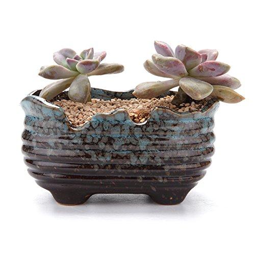 T4U 5.5 Fambe Glaze Boat Shape Sucuulent Cactus Plant Pots Flower Pots Planters Containers Window Boxes Blue
