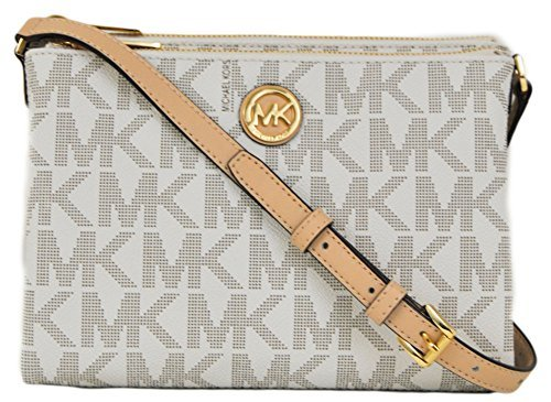 Michael Kors Signature Fulton Ew Crossbody Bag Pvc Vanilla