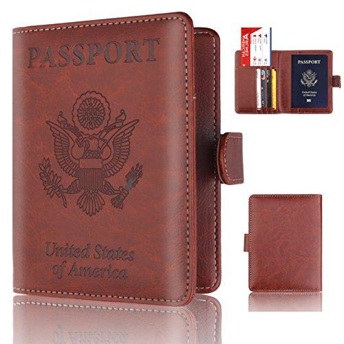 Passport Holder Cover - Rfid Blocking Leather Passport Case Travel Wallet for 4 Cards, Ticket, Cash, Passport By Talent (Ticket Case)