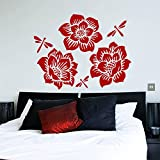 Wall Decals Dahlia Flower Floral Dragonfly Vinyl Sticker Living Room Hall Bedroom Decal Home Decor Art Murals MR323