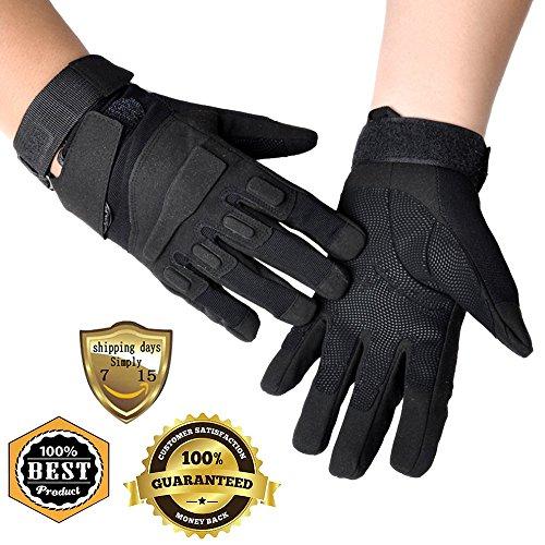 Meanhoo Winter Gloves Non-Slip Gel Pad Gloves Men's Women's Sportswear Bicycle Riding Short Gloves for Skiing Full Finger Gloves - Black (1Pair)