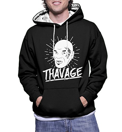 s Thavage Mike Tyson Two Tone Hoodie Sweatshirt (Black/White Strings, Large) ()