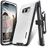#9: Samsung Galaxy S8 Case, COVRWARE [IRON TANK] + [Screen Protector] Heavy Duty Full-Body Rugged Holster Armor [Brushed Metal Texture] Case [Belt Clip][Kickstand], White