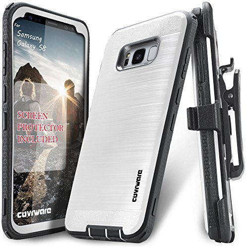 Samsung Galaxy S8 Case, COVRWARE [Iron Tank] + [Screen Protector] Heavy Duty Full-Body Rugged Holster Armor [Brushed Metal Texture] Case [Belt Clip][Kickstand], White