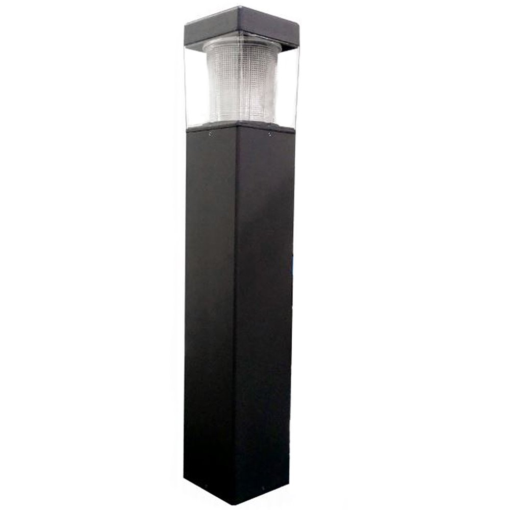 15w USA LED Square Flat Top Bollards with Type 5 Glass 120v-277v - Black - 5000K by Access Fixtures