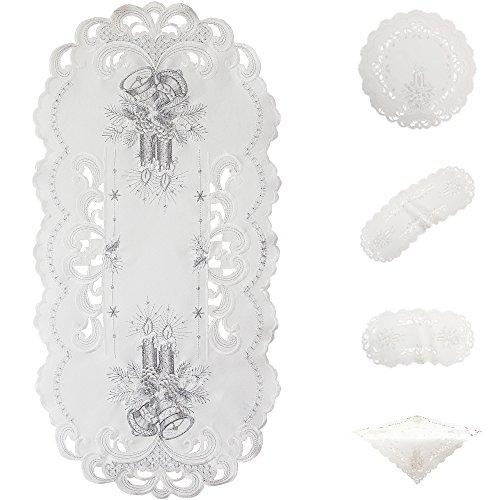 Weihnachtsdeko Tischaufleger Tisch-Deckchen Tischläufer Weiß Mit Silbernen Kerzen Und Glocken Stickerei- Größe wählbar (ca. 30 cm Rund)