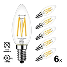 LVWIT 6 Pack B11 LED Filament Bulb 4W (40W Equivalent) 2700K Warm White Candelabra E12 Screw Base Non-Dimmable Candle Light Bulbs UL-Listed