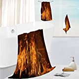 AmaPark bath towel set design A burning flame in a fireplace Thick, Plush, Absorbent 19.7''x19.7''-13.8''x27.6''-31.5''x63''