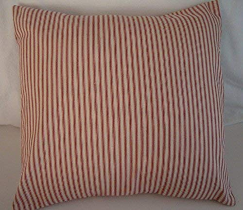 (Pillow Cover Red and Natural Ticking Envelope 18 x 18 Farmhouse Country Primitive)