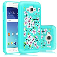 Grand Prime Case, Heng Tech (TM) Flower Design Studded Rhinestone Crystal Bling Hybrid Dual Layer Defender Case for Samsung Galaxy Grand Prime / Go Prime (Turquoise)