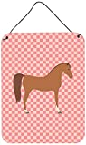 Caroline's Treasures Arabian Horse Pink Check Metal Print, 16hx12w, Multicolor