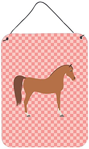 Caroline's Treasures Arabian Horse Pink Check Metal Print, 16hx12w, Multicolor by Caroline's Treasures