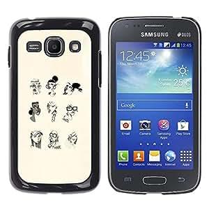 GOODTHINGS Funda Imagen Diseño Carcasa Tapa Trasera Negro Cover Skin Case para Samsung Galaxy Ace 3 GT-S7270 GT-S7275 GT-S7272 - retrato de perfil mujer blanca del arte del lápiz negro