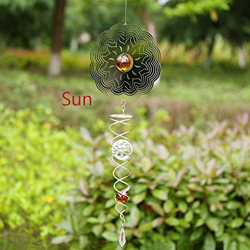 FelixStore Large Hanging Rotate Bell Wind Chimes Outdoor Decor No Sound 3D Circular 1pc Heart Flower Snowflake Butterfly Sun