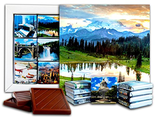 (DA CHOCOLATE Candy Souvenir WASHINGTON State Chocolate Gift Set 5x5in 1 box (Lake))
