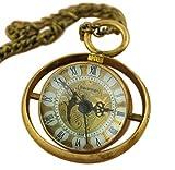 VIGOROSO Men's Vintage Ball Glass Copper Loop Hand Wind Necklace Clock Mechanical Pocket Watch