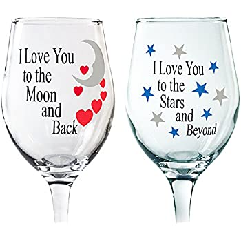 c58c1b57f58 Mom Gift - Love You More Wine Glasses for Couples - Set of 2 I Love You to  the Moon and Back and Stars and Beyond - His and Her Romantic Wine Glass Set