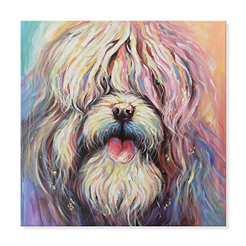 SEVEN WALL ARTS - Modern Hand Painted Oil Painting Colorful Old English Sheepdog Abstract Dog Artwork Painting for Home Decoration 32 x 32 Inch