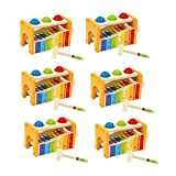 MRT SUPPLY Wooden Xylophone Pound and Tap Bench (6 Pack) with Ebook