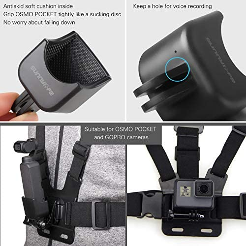 TANGON Portable Expansion Bracket Holder with Chest Strap Band Back Belt Adapter Mount Stand for DJI Osmo Pocket Handheld Gimbal Camera Stabilizer