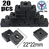 QY 20PCS Square Shape Rubber Non Slip Non Skid Feet Pad for Table Desk Chair and Sofa Black 22MM