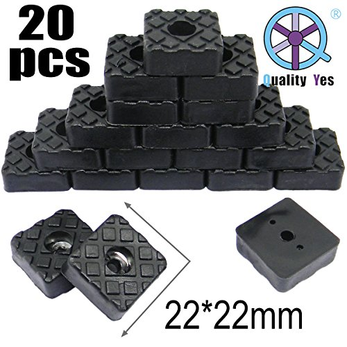 QY 20PCS Square Shape Rubber Non Slip Non Skid Feet Pad for Table Desk Chair and Sofa Black 22MM by Qualtiy Yes (Image #1)