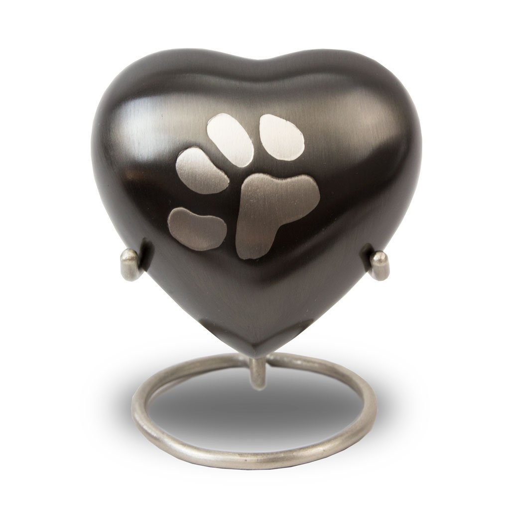 OneWorld Memorials Pet Paw Bronze Cremation Keepsake Heart - Extra Small - Holds Up to 3 Cubic Inches of Ashes - Grey Pet Cremation Urn for Ashes - Engraving Sold Separately