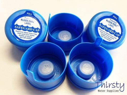 Lot of 5, 3 & 5 Gallon Water Bottle Snap On Cap Anti Splash 55mm Peel Off Tops -