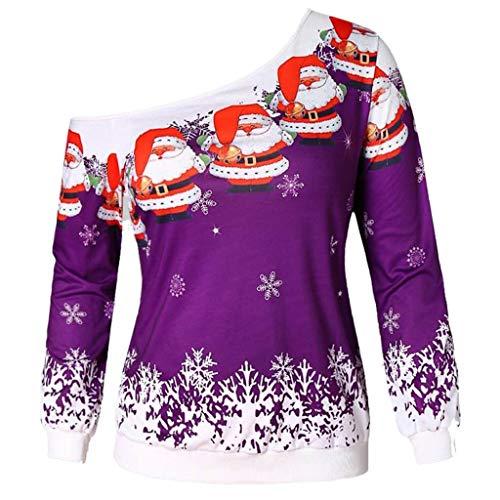 TOTOD Xmas Tops Women Merry Christmas Santa Claus Print Pullover Novelty Skew Collar Sweatshirt Long Sleeve Costume ()
