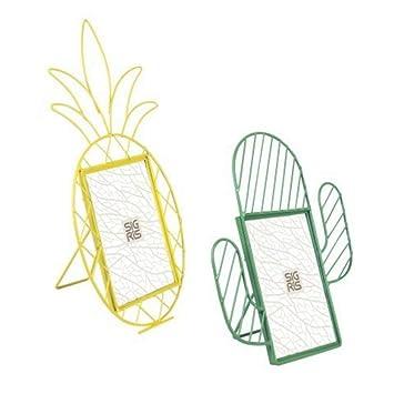 CAPRILO Set de 2 Marcos de Fotos Decorativos de Metal Cactus y Piña. Portafotos y