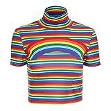 Women Turtleneck Rainbow Print Short Sleeve Striped Crop Top Harajuku High Street T-Shirt (S)