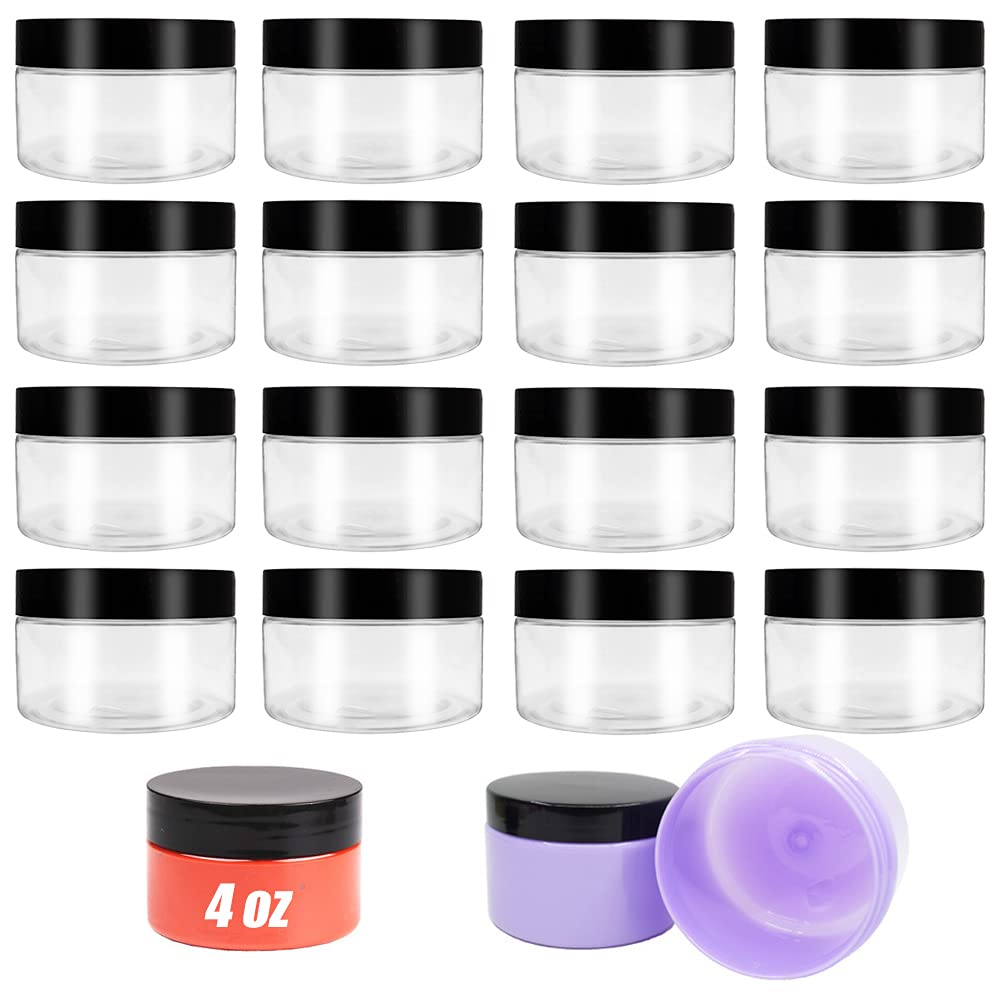 16 Pack 4oz Plastic Empty Slime Containers,Clear Plastic Jar with Lids,Round Wide-Mouth Cosmetic Container Jars for Food Storage,Powder,Jewelry,Slime Making,Candy,Beans