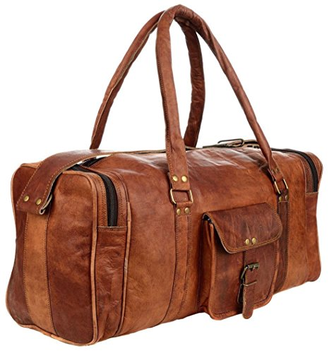 35a60d44d50f88 Galleon - 21 Inch Vintage Leather Duffel Travel Gym Sports Overnight Weekend  Luggage Carry On SALE