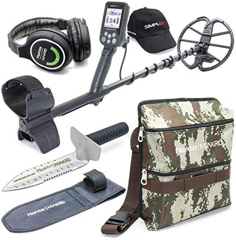 Nokta Simplex Submersible Metal Detector with Wireless Headphones, Premium Digger, and Deluxe Camo Finds Pouch