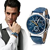 Beautyvan,New Luxury Fashion Crocodile Faux Leather Mens Analog Watch Watches Blue