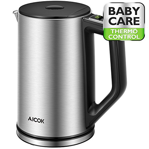 Aicok Electric Kettle Temperature Control, Double Wall Cool Touch Stainless Steel Water Kettle with LED Display from 90℉-212℉| BPA-Free | Strix Control | Keep Warm | Quick Boil | (1.5 (Stainless Steel Interior Wall)