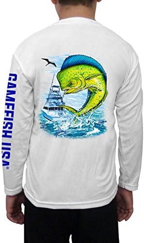 Microfiber Performance Fishing Shirt Long Sleeve White Mahi UPF 50