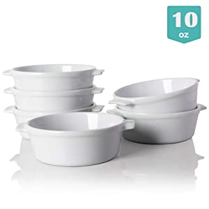 Sweejar Ceramic Souffle Dishes, Round Double Handle Ramekins for Baking, 10 OZ for Pudding,Creme Brulee,Souffle - Set of 6