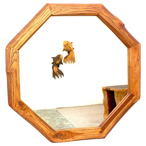 Haussmann Handcrafted 34-inch Teak Octagon and Dia Oak Oil Mirror, Handmade in Thailand - A/N