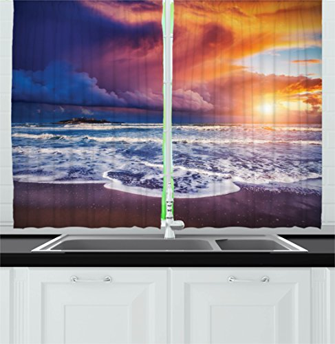 Ocean Decor Kitchen Curtains by Ambesonne, Fantastic Beach with Waves and Stormy Overcast Sky Horizon Mediterranean Scene, Window Drapes 2 Panels Set for Kitchen Cafe, 55W X 39L Inches, Blue Orange