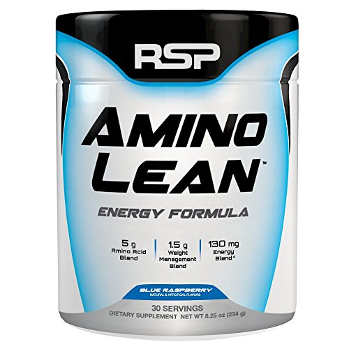 RSP AminoLean - All-in-One Pre Workout, Amino Energy, Weight Loss Supplement with EAAs, Complete Preworkout Energy & Natural Fat Burner for Men & Women, Blue Raspberry, 30 Servings
