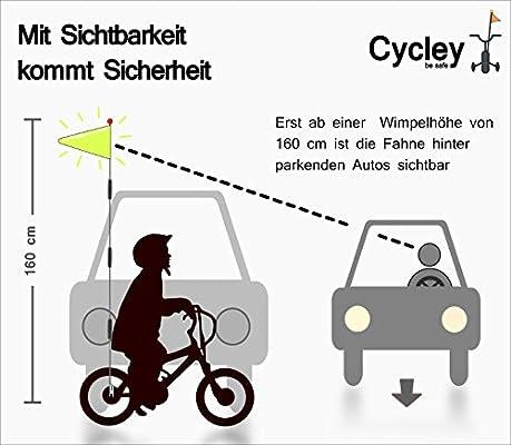 Cycley® | Bicicleta banderín | Seguridad Bandera | bicicleta | variado color | 4 piezas | Longitud 160 cm: Amazon.es: Deportes y aire libre