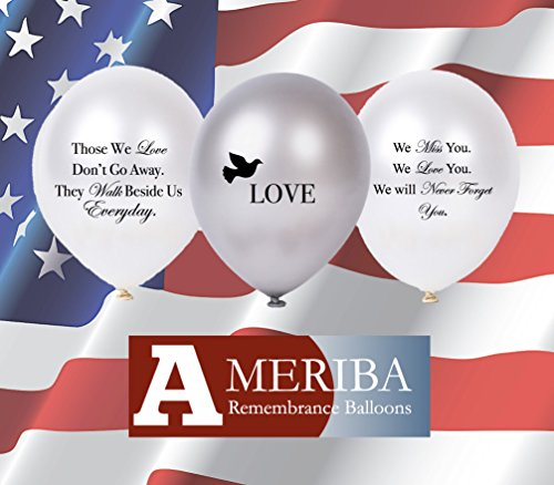 Biodegradable Remembrance Balloons: 30pc White & Silver Funeral Personalizable Balloons for Balloon Releases & Sympathy Gifts | Created/Sold by AMERIBA, a USA company (Variety Pack)